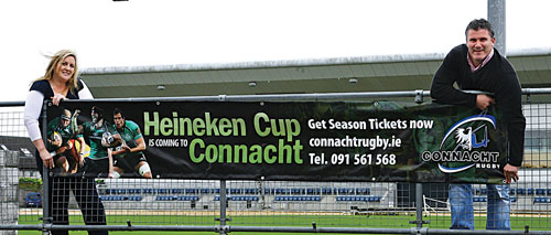 Preparing for the Holy Grail: Connacht Rugby marketing manager Fiona Keyes and Connacht Rugby team manager Tim Allnutt are already preparing for the province's first leap into Europe's elite competition, the Heineken Cup.