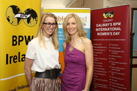 Guest speaker Caroline Casey, founding CEO of Kanchi, with Michelle Murphy, President of BPW Galway, at the BPW Galway 25th Birthday Summer Lunch at The Ardilaun hotel on Friday. Photo:-Mike Shaughnessy