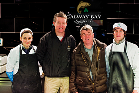 Karolina Jaromin, Noel Holland and Vincent Corrigan of Galway Bay Seafoods with Martin Shanahan during the recent recording of Martin's Mad About Fish at Galway Bay Seafoods.