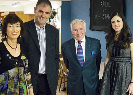 Raymonde and Donal Standún and their daughter Cliona, pictured with Feargal Quinn when he filmed the Retail Therapy show some time ago.