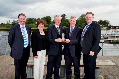 At the presentation of the Connacht Gold Milk Quality Awards on the banks of the Shannon in Carrick-on-Shannon were, from left: Aaron Forde, chief executive Connacht Gold; Ann and Michael Lyons, winners of the overall award; guest of honour, Dr Sean Brady, chairman Food Harvest 2020; and Padraig Gibbons, chairman Connacht Gold.