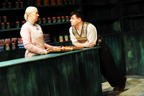No, sonny, we've no more eggs left — The Cripple of Inishmaan. Dearbhla Molloy and Laurence Kinlan in a scene from The Cripple of Inishmaan. Photo by Robert Day.