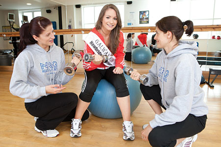 2011 Galway Rose Claire Keane gets training and nutritional advice from NRG Health & Fitness coaches Anastasia Nirkova (left) and Kasia Voetter.