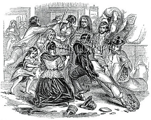 Potato riots : Panic as starving people attack and steal potatos from a shop in Galway (London Illustrated News 1847).