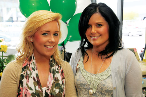 Cousins Saidhbhín and Shona Langan pictured at the brand launch of Bee Green Dry Cleaners. Photo: Brian Harding