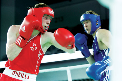 Going for gold: Islandeady's man Ray Moylette in action here during the week will be going for gold today in the finals of the European Senior Boxing Championship. Photo: Inpho.