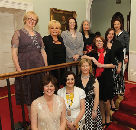 Nominees [from top left]: Carmel O'Brien, Lillian McNicholas, Eithne Cosgrove, Victoria Foutz and Sarah Flood. From bottom left: Christina Swift (nominee), Olwen Dawe (Network Mayo president), Caroline Gordon (nominee), Nicola Byrne (founder 11890 and guest speaker), and Jenny Brennan (nominee). Photo: Michael Donnelly.