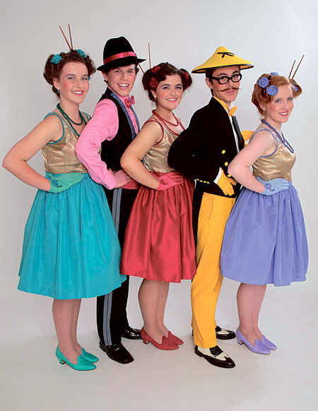 Ailbhe Lohan (Pitti-Sing), Conor O'Meara (Nanki-Poo), Emily Lohan (Yum-Yum), Conor Hanley (Ko-Ko), and Fiona Whelan (Peep-Bo) in the LYT production of Hot Mikado.