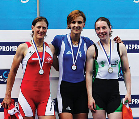 World Cup Series bronze medallist Siobhan McCrohan of Tribesman Rowing Club with Pamela Weisshaupt of Switzerland and winner Alexandra Tsiavou of Greece.