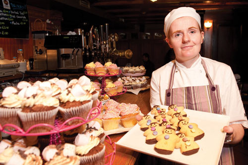 Liz and her cakes at the  'Taste of the Skeff' evening in the Skeff Hotel on Friday. Photo: Reg Gordon
