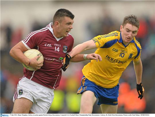 Driving on: Shane Maughan looks to set up a Galway attack in the Connacht Minor Football Championship final. Photo:Sportsfile