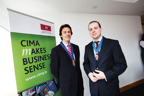 Brian Duffy is pictured left with Patrick Barr, chairman, CIMA Ireland.