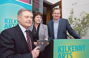 Minister for Expenditure and Reform Brendan Howlin with Ann Phelan TD and Damien Downes, CEO Kilkenny Arts Festival at the official opening of the festival in the Pembroke Hotel last Friday evening. Photo: Pat Moore.