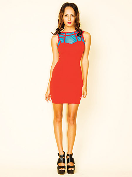 Motel Adelina dress in red and teal.