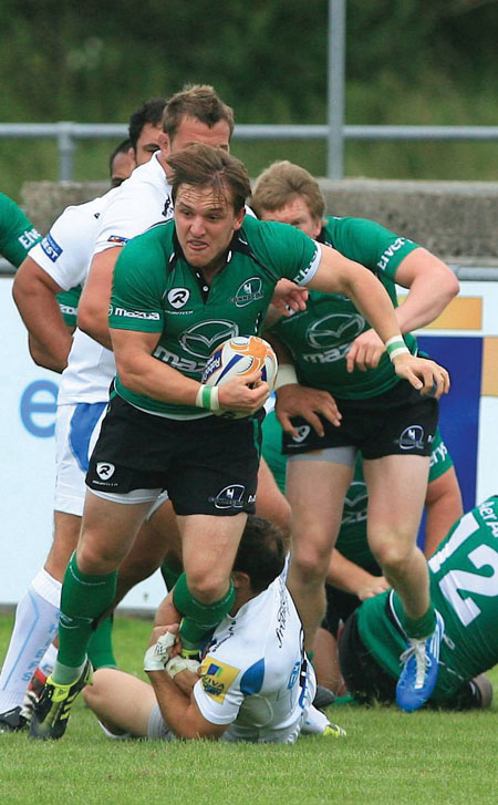 New Connacht signing, scrumhalf Paul O'Donohoe, lines out against an Ireland Select XV today in Donnybrook. Photo: Mike Shaughnessy