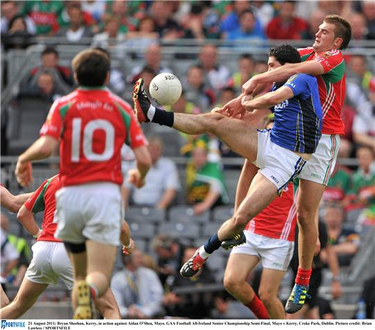Aidan O'Shea and Bryan Sheehan contest for the ball in Sunday's All Ireland sam-final