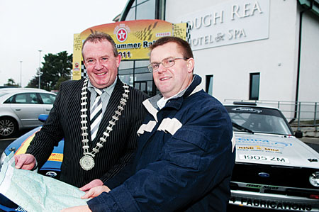 Loughrea Mayor Jimmy  Curley and clerk of course, Kieran Donoghue pictured outside Loughrea Hotel and Spa at the launch of the 2011 Galway Summer Rally. Photo: Reg Gordon