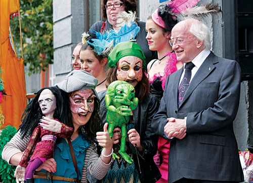 Michael D Higgins on the steps of the Town Hall Theatre on Saturday where Galway artists, musicians, dancers and writers gave him a rousing send off on his presidential campaign around the country. Photograph: Mike Shaughnessy