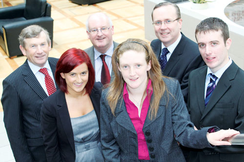 Pictured at the announcement of the Paddy Russell scholarship in the AIT last month are graduates and now RBK employees Charlene McCrossan from Coosan, Rosemarie Shanley from Clara, and Kevin Hogan from Birr. Back row, left to right are: Liam Rattigan, RBK; and Peter Melinn and Eoin Langan, AIT.