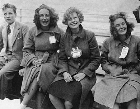 Glad to be safe: Some of the survivors of the Athenia smile in Galway after their ordeal at sea.