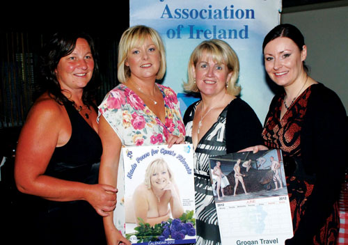 Pictured at the launch of 'Nude Poses For Cystic Fibrosis', which took place in the Brogue Bar, Tuam, were three calendar models, Norma O'Rourke, Caroline Heffernan, and Virginia Bartley with one of the calendar's photographers, Jacinta Fahy