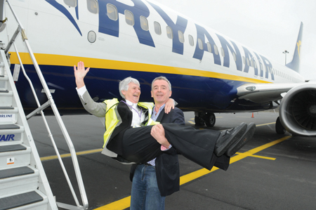 Ryanair CEO Michael O'Leary with Sr Maude Murphy, the airline's four millionth passenger to travel from Knock.