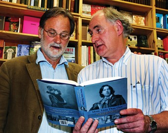 Gerard Hanberry, author of More Lives Than One: The Remarkable Wilde Family Through Seven Generations (right) with Professor Adrian Frazier, Director of the MA in drama and Theatre Studies and the MA in writing at NUI Galway, who launched Gerard's book at Charlie Byrnes Bookshop.  Photograph by Mike Shaughnessy