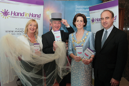 Launching The Insurance Institute of Ireland's mock wedding for charity at the Clayton Hotel were Galway  III president Hazel Morrison, Jim Molloy, Mayor Hildegard Naughton, and Financial Services Ombudsman Bill Prasifka.   Photo:-Mike Shaughnessy