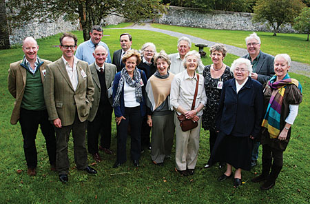 A Gathering at Coole last weekend: (back row) John Joe Conwell (Ireland Reaching Out), Professor Brian Walker, Ms Susan Persse,  Sean Tobin, and Ronnie O'Gorman (director of the Gathering).  (Front row) Edward Persse, James Persse, Richard Persse, Dr Cecily O'Neill, Hedy Gibbons-Lynott (chairman of the Gathering), Lois Tobin (founder of the Gathering),  Professor Angela Bourke, Sr Mary de Lourdes Fahy, and Marion Cox (secretary of the Autumn Gathering).