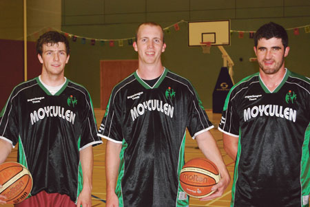 Ready for a new season; Moycullen Basketball Club's Dylan Cunningham, new signing NAIA All-American Luke Enos and Stephen Tummon prepare for the start of this season's Superleague on Sunday.