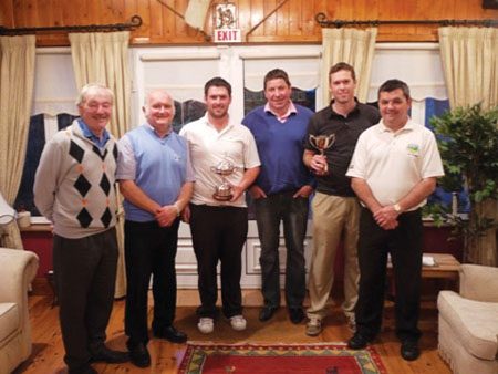 Pictured at the winners presentation: Terry Lilly (Slade Valley) 2nd, Junior Scratch Cup; Mick Dolan, owner and president Mt Temple Golf Club; Richard Bridges (Stackstown), winner of Senior Scratch Cup; John Malone, Teligence; Donal Lavin (Corballis), winner of Junior Scratch Cup; and John O'Connor, captain of Mt Temple Golf Club.