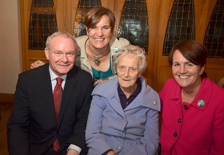 Presidential hopeful Martin McGuinness with the Ruane family during a visit to Castlebar last Friday. Photo: Alison Laredo.