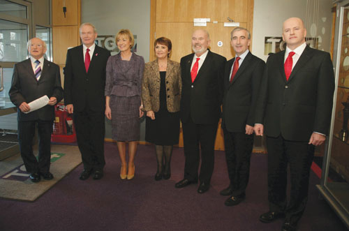 The candidates pictured by Mike Shaughnessy at TG4 this week.