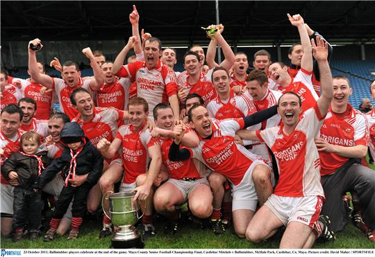 Champions again: Ballintubber celebrate winning the second Mayo senior title in a row. Photo:Sportsfile