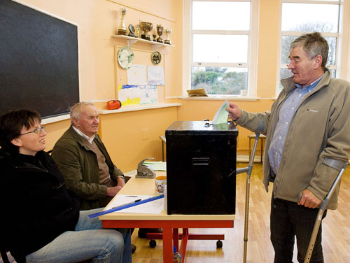 Ahead of the rest —  Terry Heery voting on Inis Mor yesterday as the Galway islands went to the polls.