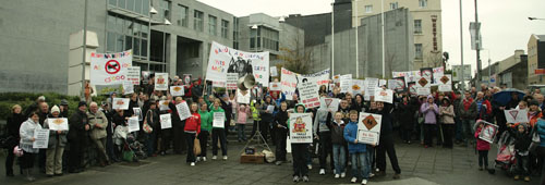 The protest at City Hall on Monday. Islanders waited for more than five hours before getting the evening ferry home before councillors got to debate the motion.