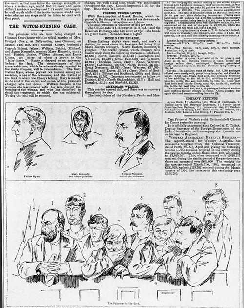 Sketches made in the Clonmel courthouse for the Daily Graphic: (Top) Fr Con Ryan, Mary Kennedy and William Simpson. (Below) from left, Michael Cleary, Michael Kennedy, William Ahern, Jack Dunne, James Kennedy, William Kennedy, Patrick Kennedy, Denis Ganey, and Patrick Boland.