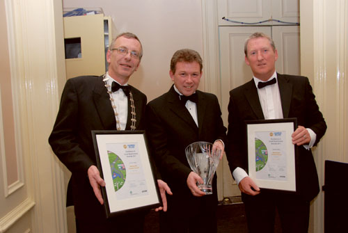 Cllr Mark Cooney, cathaoirleach Westmeath County Council; Daniel McLoughlin, county manager; and Maurice Stenson, co-ordinator of Destination Sport Mullingar, pictured with the award.