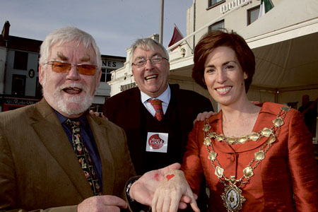 Tom Kenny Kenny's bookshop, Ronnie O'Gorman chairman of the Galway Advertiser, and Mayor Hildegarde Naughton at the launch of the Galway Advertiser Newspaper Shop Local Campaign in association with the Galway City Business Association on Tuesday. Photo:-Mike Shaughnessy