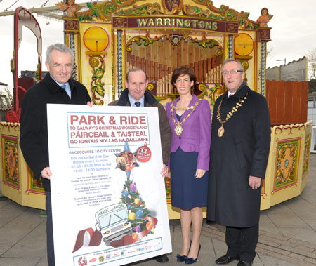 Joe O' Neill (city manager) Galway City Council, Joe Tansey (head of Galway Transportation Unit), Mayor of Galway City Cllr. Hildegarde Naughton and Paul Faller (chairman) Galway City Business Association.