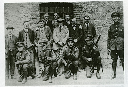 Under guard: The staff at Galway's Custom House guarded by Free State troops 1922.