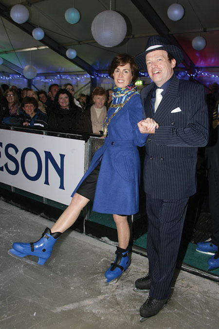 Mayor Hildegarde Naughton with ice skating pro Brownell O'Connor at the opening of Ice Factor, the Christmas Ice Skating Rink at the the Carlton Hotel, Renmore. Photo:-Mike Shaughnessy