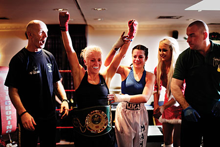 Celebrations for Galway's Yvonne McNevin after winning the IKF All Ireland flyweight title, with Pete Foley (trainer), Geina McGrath (Waterford), Ismay McVey, and Mick Burke, Meath (referee).