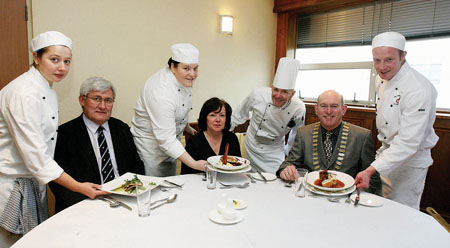 Pictured in one of the GMIT Hotel School restaurants at the launch of the GMIT Gourmet Giveaway in aid of Galway Lions Club (l-r): Elaine Day, GMIT student; Gerry O'Neill, lecturer; Lana Vlahovic, student; Mary Healy, lecturer; Martin Ruffley, lecturer; Seamus Staed, president, Galway Lions Club; and Jamie Byrne, student. Photo: Iain McDonald.