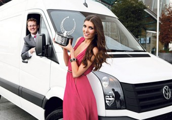 The award-winning Volkswagen Crafter with Niall Philips, sales and marketing manager of Volkswagen Commercial Vehicles Ireland, and model Hannah Devane.