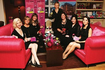 At the launch in the House Hotel on Monday of Galway Women's Little Christmas were (l-r) Hazel Hendy of Galway Simon, Julie Kelly of Brown Thomas, Sarah Cooke O'Neill - The Little Cup Cake, Margaret Jenkins The House Hotel, Gill Carroll Lynchs Café, Elka Stillman Galway Simon and Aoife Coughlan of Born Clothing. The funky afternoon tea on Nollaig na nBan - January 6 in the House Hotel will raise money for Galway Simon.   Photo:-Mike Shaughnessy
