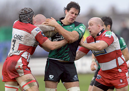 Without veteran Michael Swift, Connacht's Mike McCarthy must take a leading role in the pack when Connacht meet Gloucester in the return Heineken Cup leg at Kingsholm Park on Saturday.    		Photo: Mike Shaughnessy.