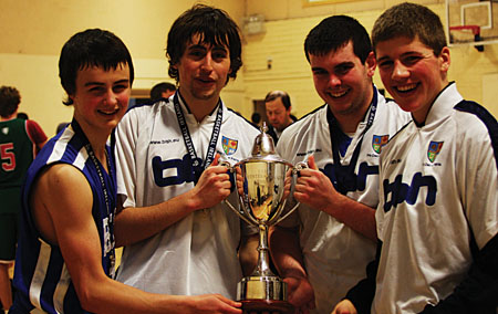 The Western Regional Senior A basketball Champions 2012. Bish players Patrick Lyons (capt), Liam Barber, Brian Brophy, Dylan Costello.