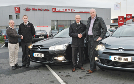 "Vincent Kenny and John Lavelle, directors of Westaro Hosing, collecting the keys of their Citroen C5s from Pat Neary and Padraic Conway. Kenny and Lavelle have been dealing with Conways Car Dealers since the company was set up in 1990.  Vincent Kenny said: ""We buy all our vehicles from Conways, who over the past 20 years have provided us with a service second to none."" Westaro Hosing is a wholesale company providing a distribution service of hosing, clothing, footwear, safety equipment, and Regatta clothing to agri-business, the construction industry, the industrial sector, and various outlets throughout the country. Photo: Ken Wright Photography 2012"