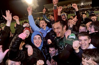 Blood, sweat and tears: Connacht's George Naoupu is flocked by young supporters after Connacht's historic win.